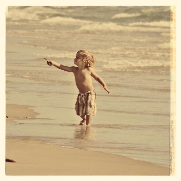 sepia toddler boy